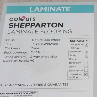 Shepparton Laminate Flooring, form the B&Q colours collection