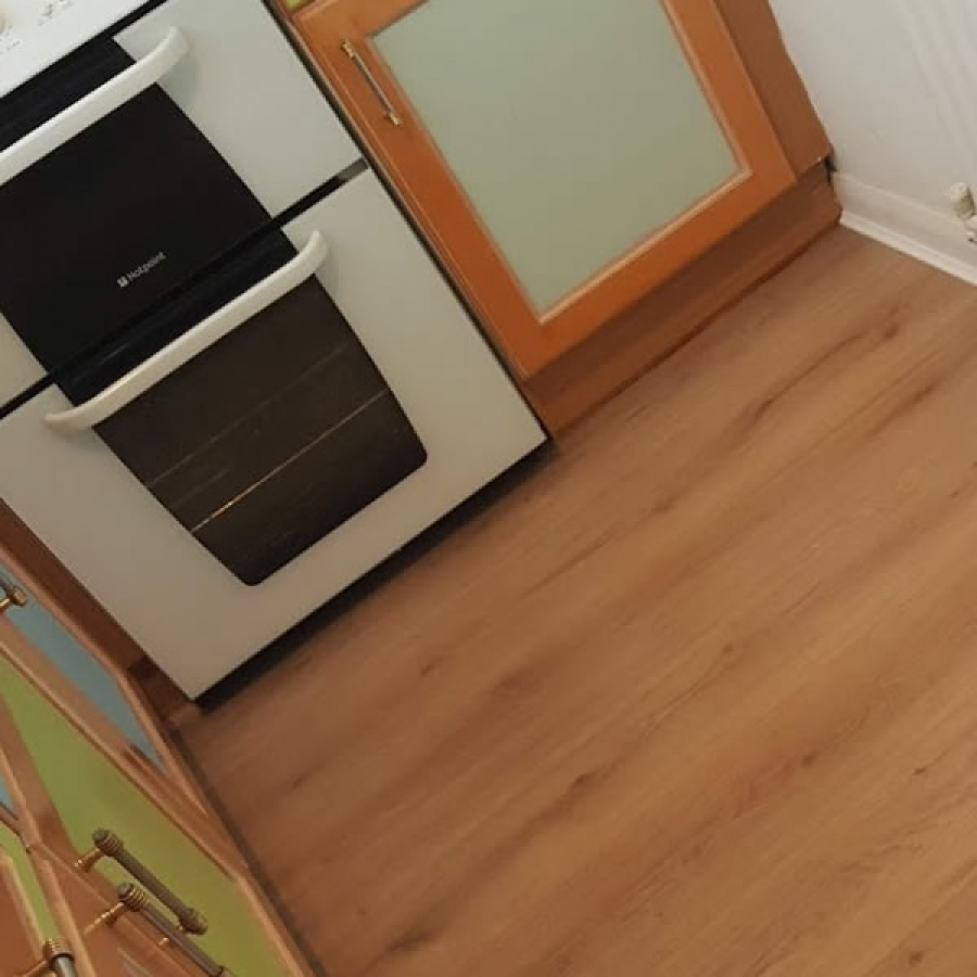 kitchen with laminate flooring